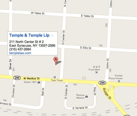 Corrected Google Map of location of Temple Law